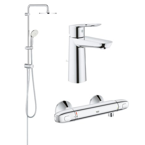 Pachet coloana dus Grohe New Tempesta 200, crom, montare pe perete, plus baterie termostat Grohtherm